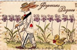 Fantaisie - JOYEUSES PAQUES - Lapin Et Poussin - Carte Gauffrée - Pâques