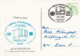 PP 104/69  UNO Zu Gast Auf Der HANSA`80 - Lübecker Brief-Marken- Ausstellung, Lübeck-Travemünde 1 - Privatpostkarten - Gebraucht