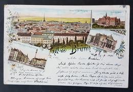 Litho Gruss Aus Brünn, Böhmen, Stadttheater, Deutsches Haus, .. Gelaufen 1897 - Boehmen Und Maehren