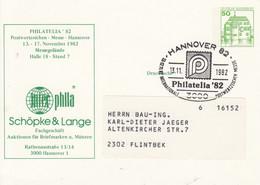 PP 104/160a PHILATELIE'82 - Postwertzeichen-Messe-Hannover 1982 - Schöpke & Lange Fachgeschäft, Hannover 82 - Privatpostkarten - Gebraucht