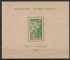 Martinique - 1937 - Bloc Feuillet BF N°Yv. 1 - Exposition Internationale - Neuf Luxe ** / MNH / Postfrisch - Blocks & Kleinbögen