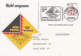 PP 148/3 Nicht Vergessen: SÜD-POSTA `87 - Messehalle 22.-2510.1987, Lüdenscheid 1 - Privatpostkarten - Gebraucht