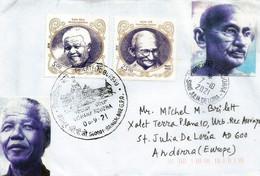 Hommage Au Mahatma Gandhi & Nelson Mandela, émission Année 2018, Sur Lettre INDE Adressée Andorra - Mahatma Gandhi