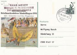PP 152 Y ??  Internationale Briefmarkenbörse Sindelfingen 1991 - 1811 - Schneider Von Ulm, Ubstadt Weiler 3 - Privatpostkarten - Gebraucht