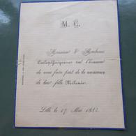 Faire Part Naissance 1884 - Birth & Baptism