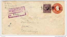 Registered Mail Nr.4343 - New York Nach Stettin - Ganzsache Mit Zusatzfrankatur -  Used 1928 - Refb3 - 1921-40