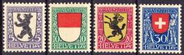 """Schweiz Suisse Pro Juventute 1924: """"Kantons-Wappen AI SO SH"""" Zu WI 29-32 Mi 209-212 Yv 214-217 ** MNH (Zu CHF 10.00) - Neufs"""