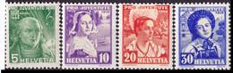 Schweiz Suisse Pro Juventute 1936: Trachten & H.G.Nägeli 1936 Zu 77-80 Mi 306-309 Yv 298-301 ** MNH (Zu CHF 16.00) - Neufs