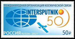 RUSSIA 2021 Stamp MNH VF ** Mi 3051 ESPACE International Space Communication Intersputnik RADIO TELECOM SATELLITE 2827 - Nuovi