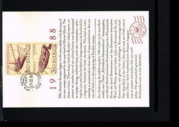 1988 - Sweden Card FDC - Transport - Ships & Boats [ZF123] - FDC