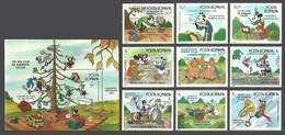 ROMANIA 1986 DISNEY BAND CONCERT GOLF MUSIC PIGS TORNADO COW SET & M/SHEET MNH - Nuovi