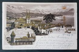 Litho Gruss Aus Luzern, Gelaufen 1900 - LU Lucerne