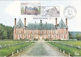 France Carte Maximum 1981 2135 Château De Rosny Sur Seine Sully Flamme - 1980-89
