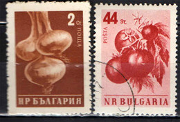 BULGARIA - 1958 - ORTAGGI: CIPOLLE E POMODORI - USATI - Gebraucht