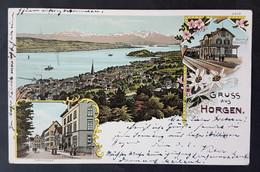 Litho Gruss Aus Horgen, Bahnhof Oberdorf, Seestrasse, Gelaufen 1900 - ZH Zurich