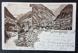 Litho Gruss Aus Göschenen, Dammagletscher, Gotthardtunnel, Gelaufen 1900 - UR Uri