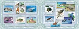 Guinea Bissau 2010, Stamp On Stamp, WWF, Birds, Sharks, 5val In BF +BF - Francobolli Su Francobolli