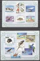 Guinea Bissau 2010, Stamp On Stamp, WWF, Birds, Sharks, Pigeons, 5val In BF +BF IMPERFORATED - Francobolli Su Francobolli