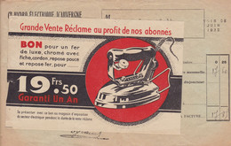 Compagnie Hydro Electrique D'Auvergne Facture Avec Pub Promotion Du Fer à Repasser  1932 - Elektrizität & Gas
