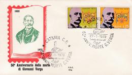 1972 ITALY FDC 50TH ANNIVERSARY DELLA MORTE DI GIOVANNI VERGA - F.D.C.
