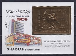 SHARJAH 1968, Mi# Bl 45A, Golden Foil, Sport, Olympics Mexico, MNH - Estate 1968: Messico
