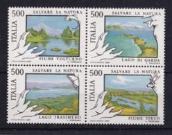 ITALIA REPUBBLICA 1987 SALVARE LA NATURA SASSONE S.437 BLOCCO DI 4   MNH PERFETTI - 1981-90:  Nuovi