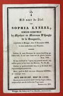 Anno 1858 - Doodsprentje Décés - LYNEEL Dienstmeid Bij D'HOOGHE DE LA GAUGUERIE Bruges Brugge - 10.5 Cm X 7 Cm - Devotieprenten