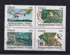 ITALIA REPUBBLICA 1984 NATURA I BOSCHI SASSONE S.407 BLOCCO DI 4   MNH PERFETTO - 1981-90:  Nuovi