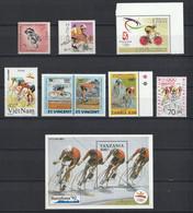 Lot De 9 Timbres Neufs Cyclisme - Vélo - Pallacanestro