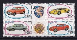 ITALIA REPUBBLICA 1985 AUTO SASSONE S.417 BLOCCO DI 4  CON APPENDICI CENTRALI MNH PERFETTO - 1981-90:  Nuovi