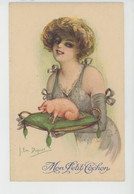 """ILLUSTRATEUR DUPUIS - FEMMES - FRAU - LADY - PIG - Jolie Carte Fantaisie Femme """"Mon Petit Cochon """" - Dupuis, Emile"""