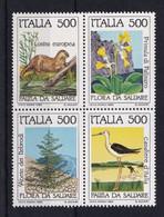 ITALIA REPUBBLICA 1985 NATURA: FAUNA E FLORA  SASSONE S.421 IN BLOCCO DI 4  MNH PERFETTI - 1981-90:  Nuovi