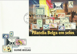 Guinea Bissau 2010, Belgian Stamps, Scout, Rubens, Lions, Mushrooms, Dunandt, Tennis, FDC - Francobolli Su Francobolli