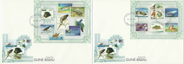 Guinea Bissau 2010, Stamp On Stamp, WWF, Birds, Sharks, 5val In BF +BF In 2FDC - Francobolli Su Francobolli