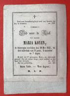 Anno 1845 - Doodsprentje Décés - GRAVURE - KOYEN Anvers Antwerpen - 11 Cm X 8 Cm - Devotieprenten