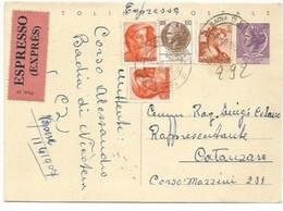CP Turrita Siracusana L.25 + Altri Per L.140 Espresso Badia CZ 6ago1965 X Catanzaro - Interi Postali