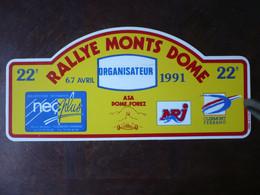 D 63 - 22ème Rallye Des MONTS DÔME - 1991 - ASA DÔME FOREZ - Clermont-ferrand - Targhe Rallye