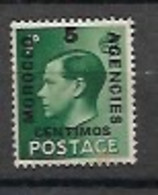GB MOROCCO AGENCIES 1936 KE Vlll 5 CENTIMOS GREEN MNH - Morocco Agencies / Tangier (...-1958)