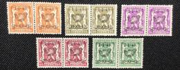 PRE589/593**.Série 5 Valeurs.MNH. ( Paire) - Typos 1936-51 (Kleines Siegel)