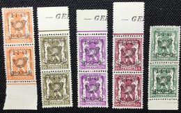 BELGIQUE 1949.PRE589/593**.Série 5 Valeurs.MNH. ( Paire) T.B. - Typos 1936-51 (Kleines Siegel)