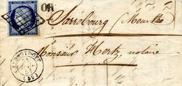 Cérès N° 4 25 C Bleu Sur Lettre D'Albestroff Pour Sarrebourg Obllitéré Grille + Cachet OR 31/07/1851 Signé Baudot - 1849-1850 Cérès
