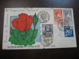SANT FELIU DE LLOBREGAT 1961 Expo Nacional De Rosas Cancel Red Color Cover SPAIN Rosa Rosas Rose Roses Flora Flower - Rose