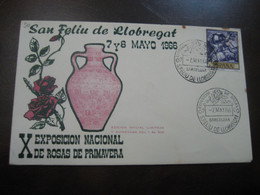 SANT FELIU DE LLOBREGAT 1966 Expo Nacional De Rosas Cancel Pink Amphora Cover SPAIN Rosa Rosas Rose Roses Flora Flower - Rose