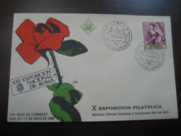 SANT FELIU DE LLOBREGAT 1969 Expo Nacional De Rosas Cancel Red Colour Cover SPAIN Rosa Rosas Rose Roses Flora Flower - Rose