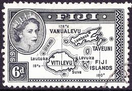 FIJI 1954 QEII 6d Black SG287 FU - Fiji (...-1970)