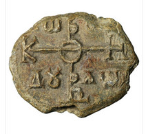 Byzantine Lead Seal. 8th Century. Constantinus (Royal Swordsmith Chief). Sceau Plomb Byzance - Archaeology