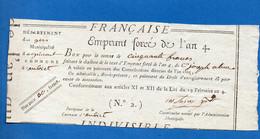 Aubiet (Gers)  Reçu (an 5 ,1797) De L'EMPRUNT FORCé DE L'AN 4.... (50f)   (PPP32384) - Non Classificati
