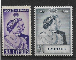 CYPRUS 1948 SILVER WEDDING SET VERY LIGHTLY MOUNTED MINT Cat £61+ - Cyprus (...-1960)