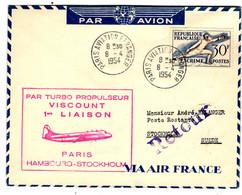 52574 - PARIS  HAMBURG Par VISCOUNT - 1927-1959 Brieven & Documenten