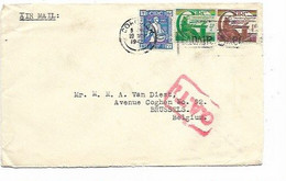 SH 1071. N° Yv. 99-100-102 CORCHICH 20 NOV 1945 S/Lettre AVION Vers BRUXELLES - GRIFFE Rouge O.A.T. - Covers & Documents